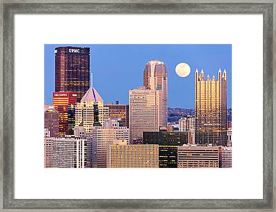 Moon Over Pittsburgh 2 Framed Print by Emmanuel Panagiotakis