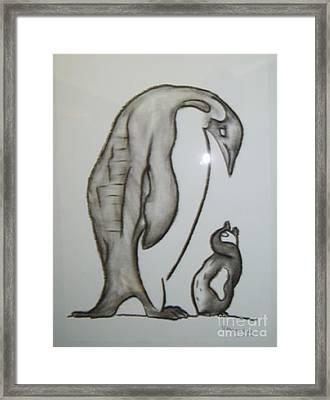 Mother And Child Penguins Framed Print