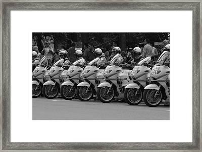 Motorcycle Brigade Framed Print by Robert Knight