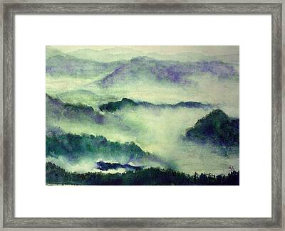 Framed Print featuring the painting Mountain Oriental Style by Yoshiko Mishina