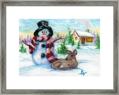Mr. Snowman Aceo Framed Print