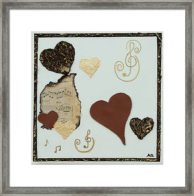 Musical Love - Tan Hearts Framed Print by Alison Quine