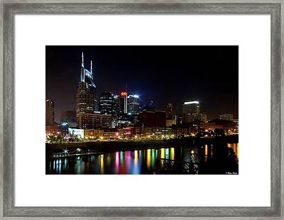 Nashville Skyline At Night Framed Print by Brian Stamm