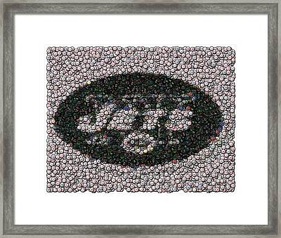 New York Jets Bottle Cap Mosaic Framed Print by Paul Van Scott