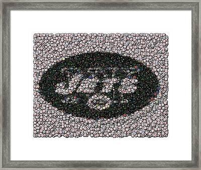 New York Jets Bottle Cap Mosaic Framed Print