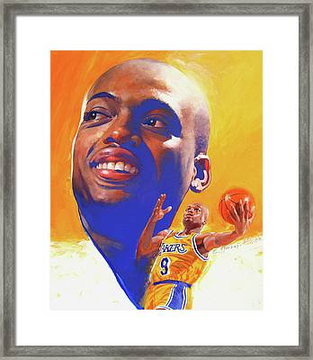 Framed Print featuring the painting Nick Van Exel by Cliff Spohn