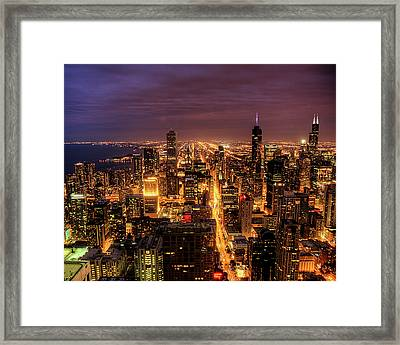 Night Cityscape Of Chicago Framed Print