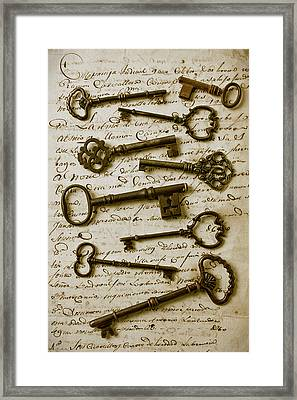 Old Keys On Letter Framed Print