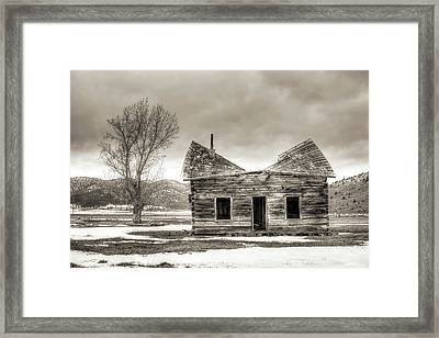 Old Rustic Log Cabin In The Snow Framed Print by Dustin K Ryan
