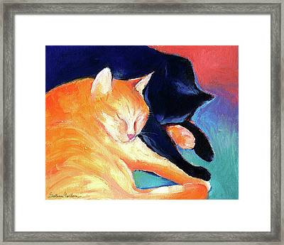 Orange And Black Tabby Cats Sleeping Framed Print