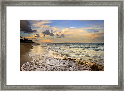 Orange Glowing In The Pacific Ocean Framed Print by Iris Greenwell