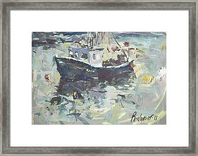 Framed Print featuring the painting Original Lobster Boat Painting by Robert Joyner