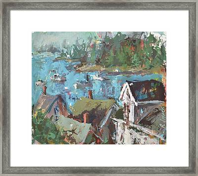 Framed Print featuring the painting Original Modern Abstract Maine Landscape Painting by Robert Joyner