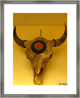 Painted Bison Skull Framed Print by Austen Brauker