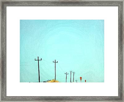 Painting Of Telegraph Poles Framed Print by Virginia Star