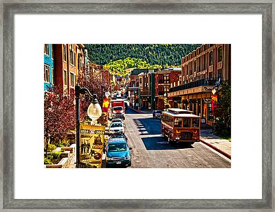 Park City Trolley Framed Print by La Rae  Roberts