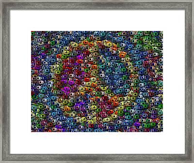 Peace Sign Eyeball Mosaic Framed Print by Paul Van Scott