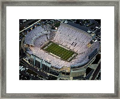Penn State Aerial View Of Beaver Stadium Framed Print by Steve Manuel