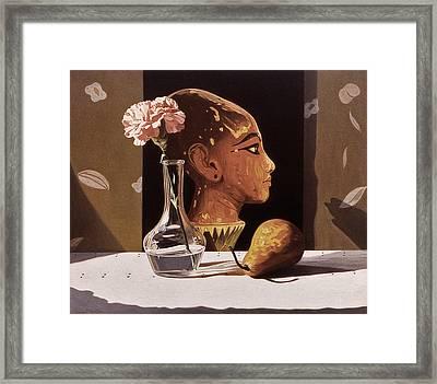 Pink Carnation And Egyptian Head Framed Print by Daniel Montoya