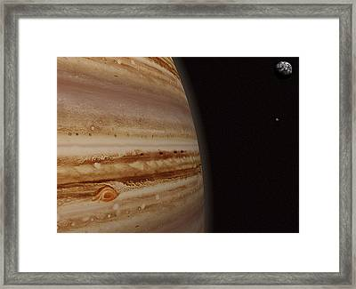 Planet Jupiter And A Distant Moon Framed Print by Jason Reed