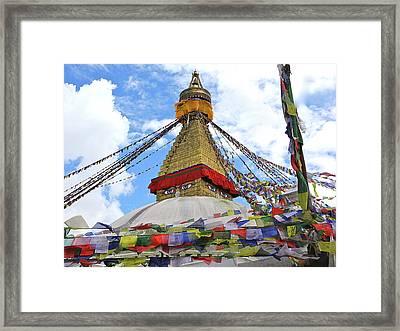 Pray Flags Boudhanath Kathmandu Framed Print
