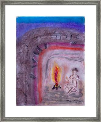 Primitive Man Fireside Framed Print by Robyn Louisell