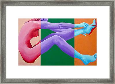 Putting On Shoes Triptych Framed Print by Geoff Greene