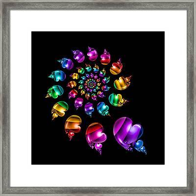 Rainbow Heart Wheel On Black Framed Print by Pam Blackstone