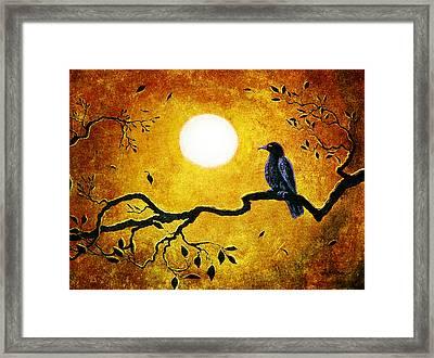 Raven In Golden Splendor Framed Print by Laura Iverson