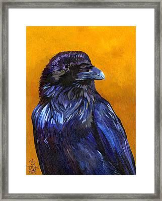 Raven Framed Print by J W Baker