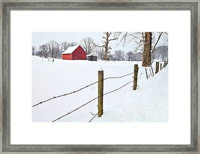 Red Barn And Fresh Snow - D006392a Framed Print by Daniel Dempster