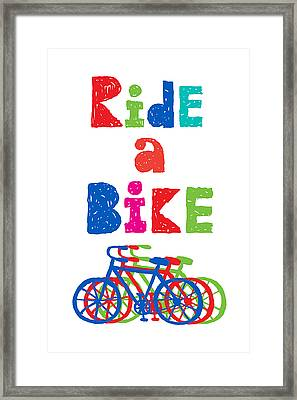 Ride A Bike - Sketchy  Framed Print by Andi Bird