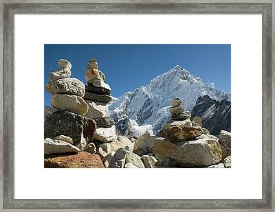 Rock Piles In The Himalayas Framed Print