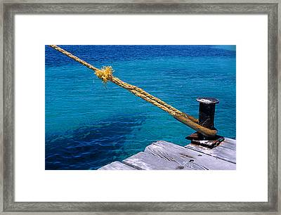 Rope On Mooring Post Framed Print by Sami Sarkis