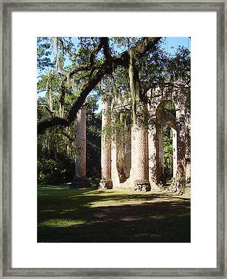 Ruins Of The Old Sheldon Church Framed Print by Richard Marcus