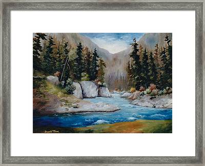 Framed Print featuring the painting Rushing Waters by Brenda Thour