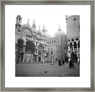 San Marco Piazza And Basilica In Venice Framed Print by Emanuel Tanjala