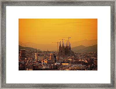 Silhouettes In Barcelona Framed Print by Paul Biris