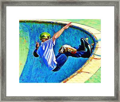 Skateboarding In The Bowl Framed Print by Elaine Plesser