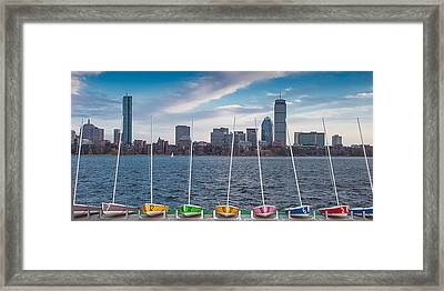 Skyline Sailboats Framed Print
