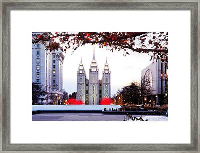 Slc Temple Red And White Framed Print by La Rae  Roberts