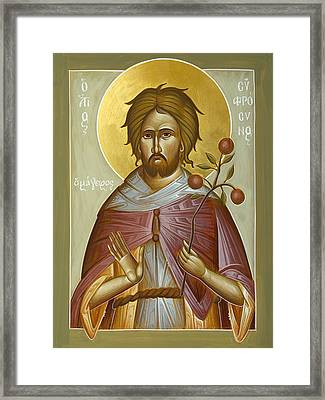 St Euphrosynos The Cook Framed Print by Julia Bridget Hayes