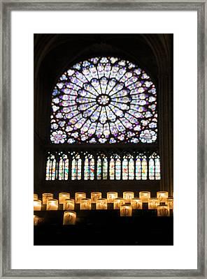 Stained Glass Window Of Notre Dame De Paris. France Framed Print by Bernard Jaubert