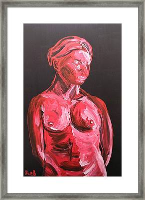 Framed Print featuring the painting Standing Nude In Red by Joshua Redman