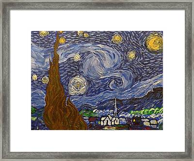 Framed Print featuring the painting Starry Night - An Ode To Vincent by Joshua Redman