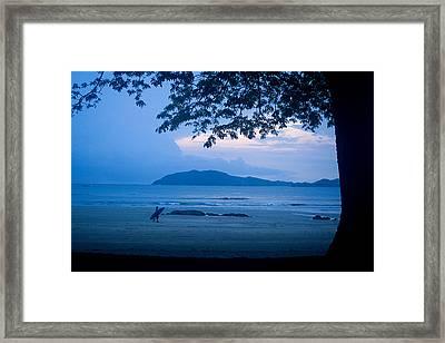 Strolling Surfer Framed Print