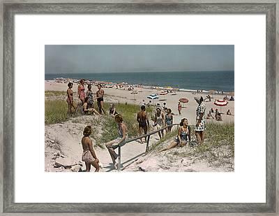 Sunbathers And Beach Umbrellas Dot Framed Print by Willard Culver
