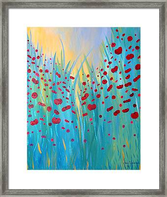 Framed Print featuring the painting Sunlit Poppies by Stacey Zimmerman