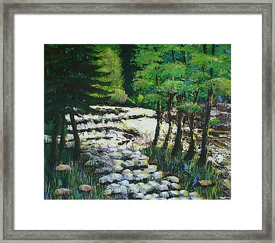 Sunlit Waterfall Framed Print by Art Nomad Sandra  Hansen