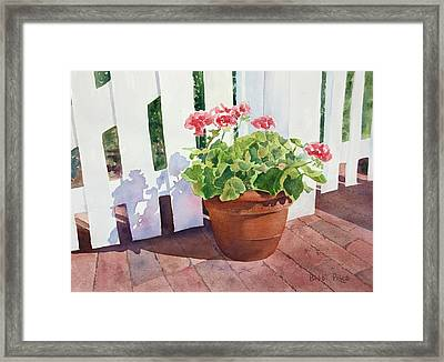 Sunny Day Geraniums Framed Print by Bobbi Price